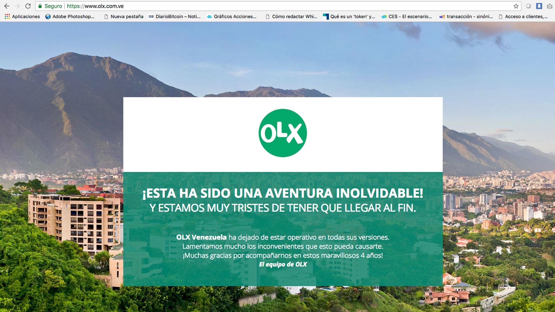 OLX Venezuela anuncia su cierre de sus operaciones en el país